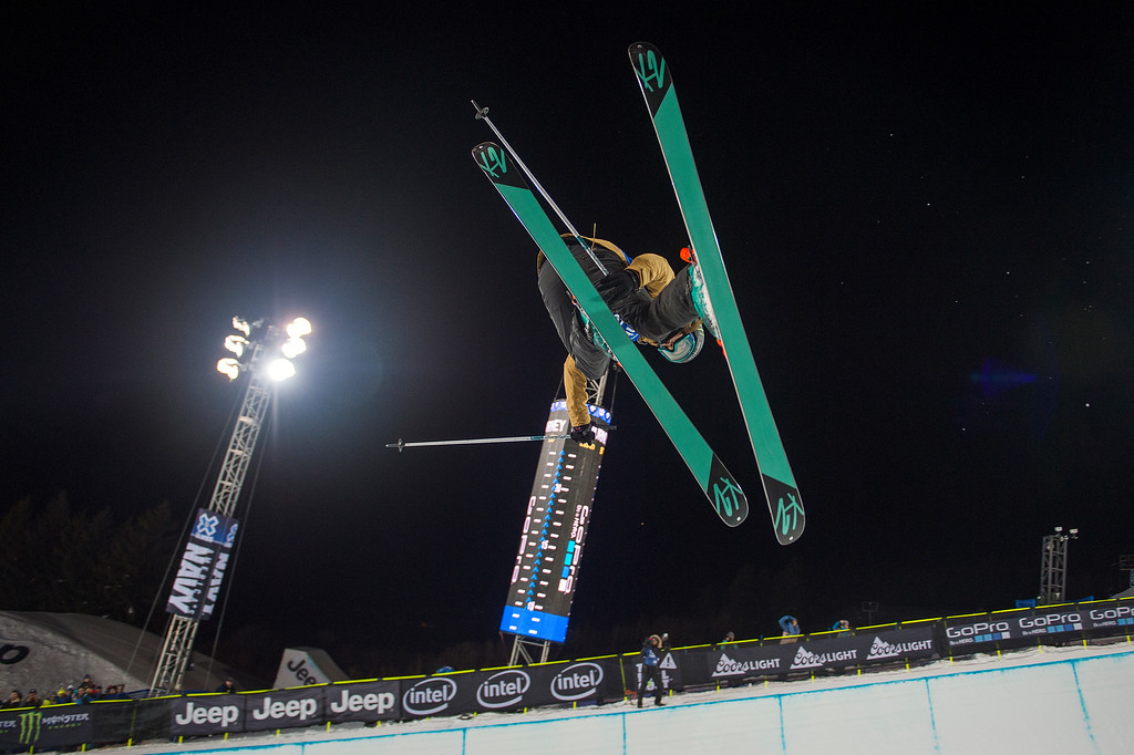 . ASPEN, CO - JANUARY 29: Brita Sigourney #751 of the United States competes during the second run of the women\'s ski halfpipe at Winter X Games 2016 Aspen at Buttermilk Mountain on January 29, 2016, in Aspen, Colorado. (Photo by Daniel Petty/The Denver Post)