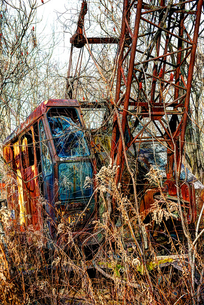 A rusting P & H Crane abandoned in a field in Berlin, NY   #822