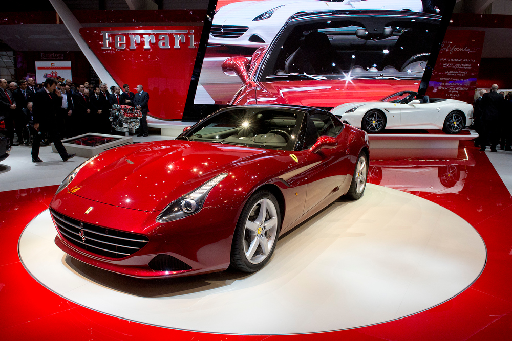 . The New Ferrari California T is  is on display  at the 84.  Geneva International Motor Show in Geneva, Switzerland, Tuesday, March 4, 2014.  (AP Photo/ Keystone,Sandro Campardo)