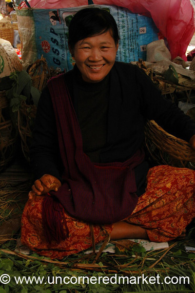 Burmese Woman and Greens, Nam Pan Market - Inle Lake, Burma