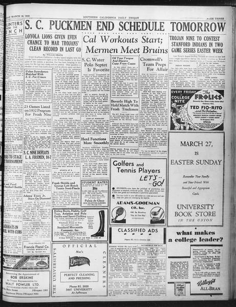 Daily Trojan, Vol. 23, No. 111, March 18, 1932