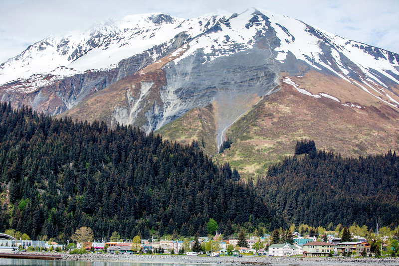 Seward Alaska waterfront and Marathon Mountain, from Resurrection Bay