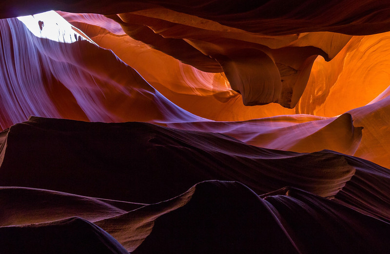 Closer crop of the previous scene in Upper Antelope Canyon.