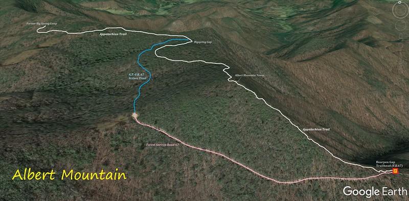 Albert Mountain Loop Hike Route Map