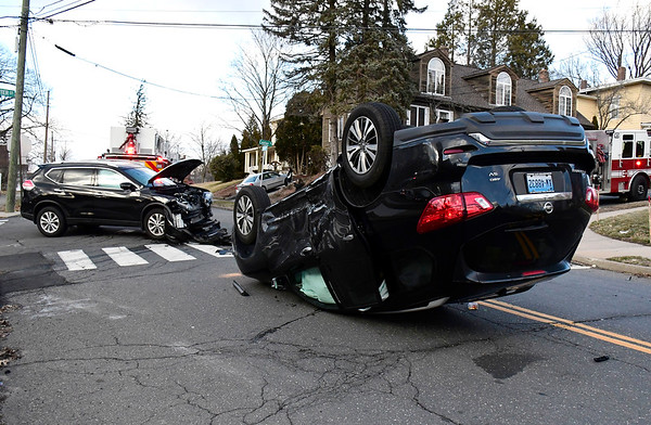 2/27/2020 Mike Orazzi | Staff The scene of a two vehicle crash at the intersection of Summer and Center Street in Bristol on Thursday afternoon. One was transported from the scene.
