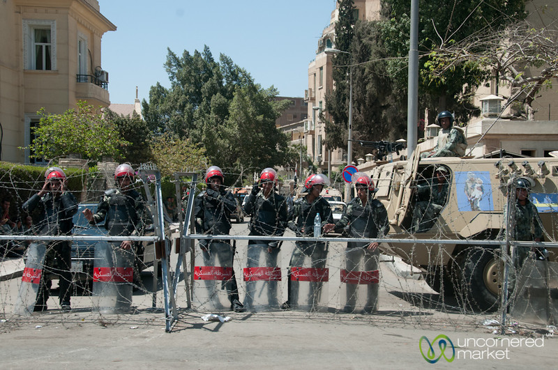 Guarding a Government Building in Cairo, Egypt