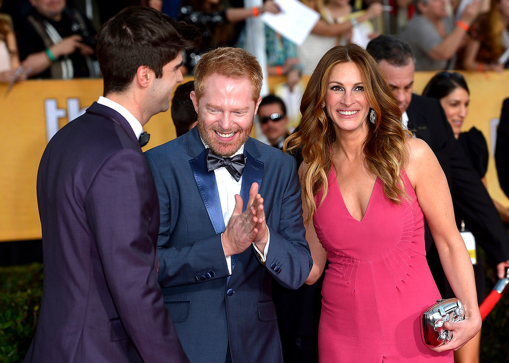 . Jesse Tyler Ferguson  and Julia Roberts arrives at the 20th Annual Screen Actors Guild Awards  at the Shrine Auditorium in Los Angeles, California on Saturday January 18, 2014 (Photo by Michael Owen Baker / Los Angeles Daily News)