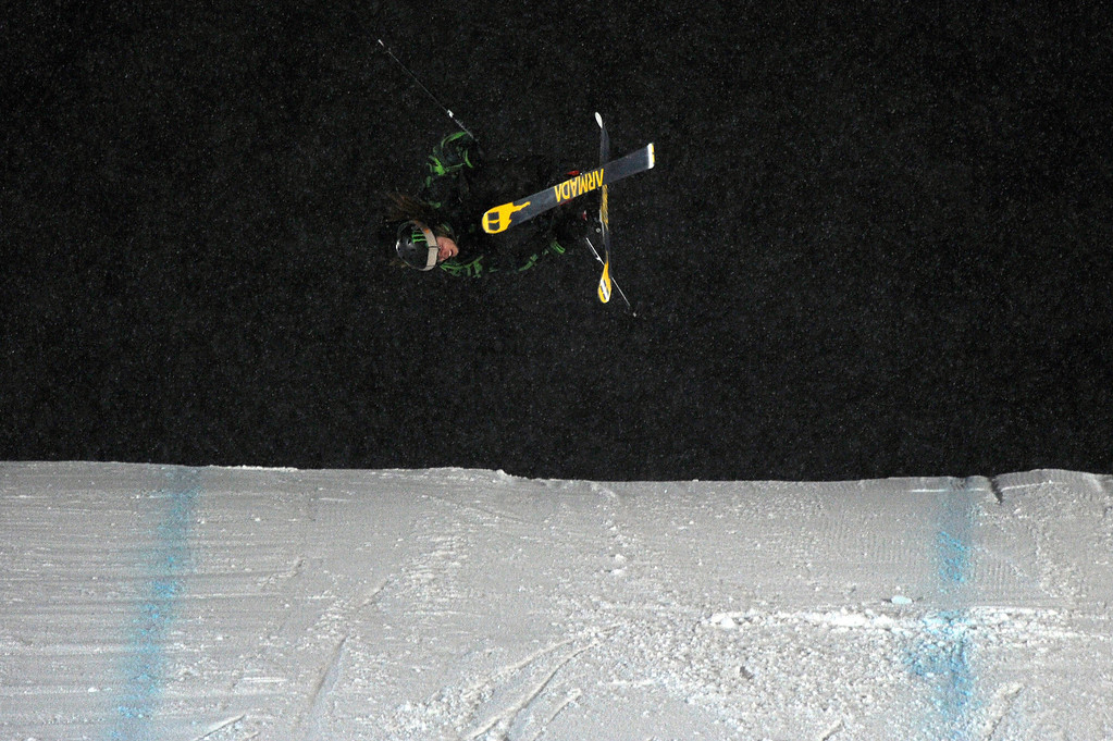 . ASPEN, CO - January 26: Henrik Harlaut, of Sweden, prepares to land a nose butter triple cork 1620 during the men\'s Ski Big Air Finals at Winter X Games Aspen 2013 at Buttermilk Mountain on Jan. 26, 2013, in Aspen, Colorado. Harlaut scored a perfect 50 on the jump and won the event overall. (Photo by Daniel Petty/The Denver Post)