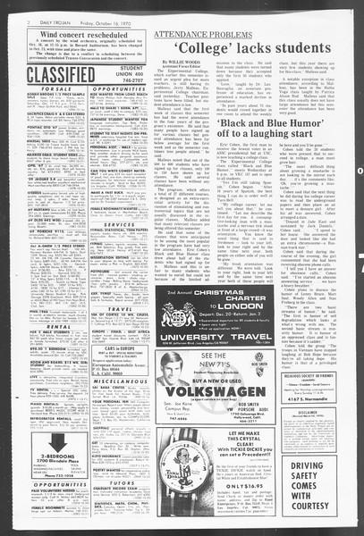 Daily Trojan, Vol. 62, No. 18, October 16, 1970