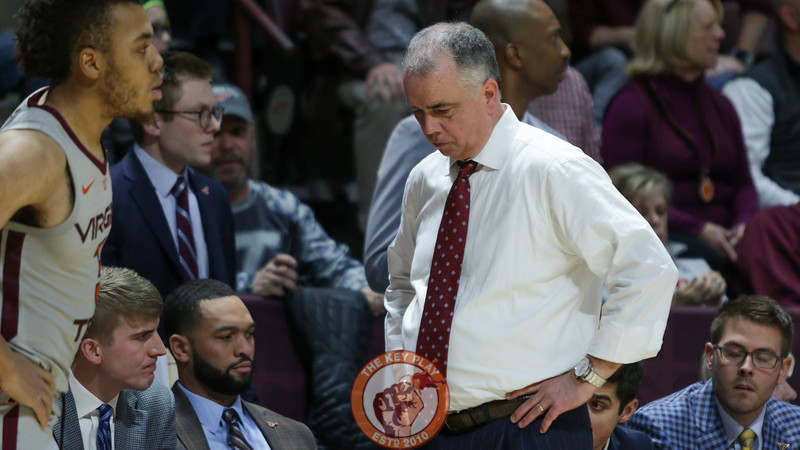 Hokies head coach Mike Young reacts as the Hokies fail to overcome Syracuse late in the game. (Mark Umansky/TheKeyPlay.com)