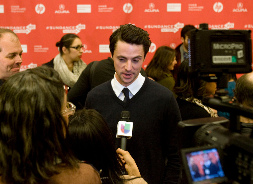 Description of . Kim Raff  |  The Salt Lake Tribune Actor Matthew Goode gives an interview on the red carpet for the premiere screening of