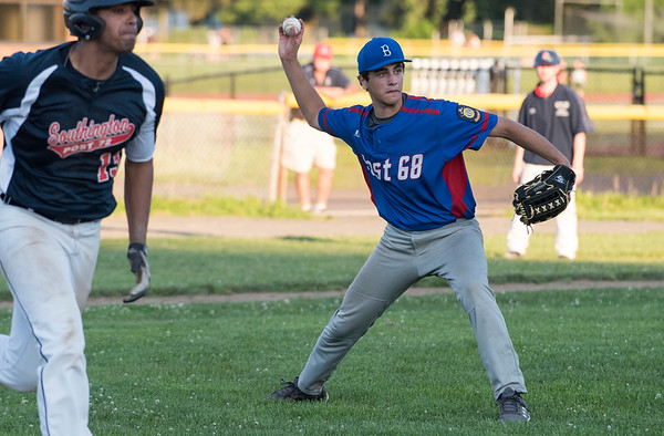 06/27/19 Wesley Bunnell | Staff Berlin Post 68 Legion baseball vs Southington Post 72 on Thursday June 27, 2019. Berlin pitcher (20) fields a dribbler and tosses to first for the out.