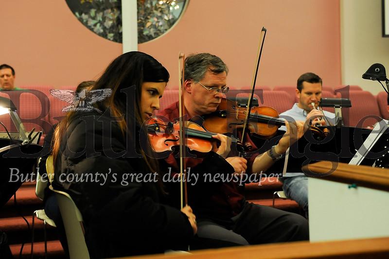 The SMPC Fest Orchestra practice ahead of their Christmas Cantana at Saxonburg Memorial Presbyterian Church on Wednesday December 11, 2019 (Jason Swanson photo)