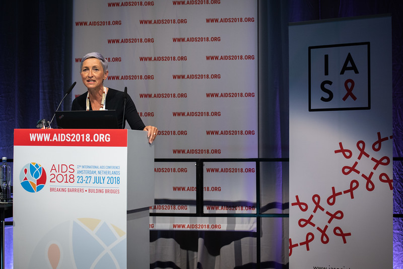 22nd International AIDS Conference (AIDS 2018) Amsterdam, Netherlands.   Copyright: Steve Forrest/Workers' Photos/ IAS  Photo shows: President of the IAS, Linda-Gail Bekker, during the IAS Members' Meeting.