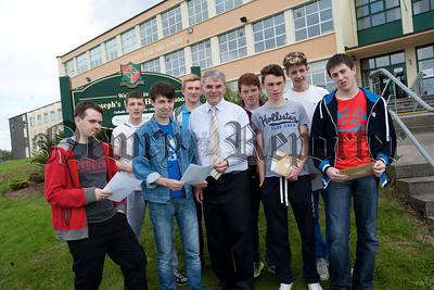 St Jospeh's Boys' High School Newry Principal Mr hugh Mallon is pictured with some pf the students at the school who received their GCSE results. R1435008
