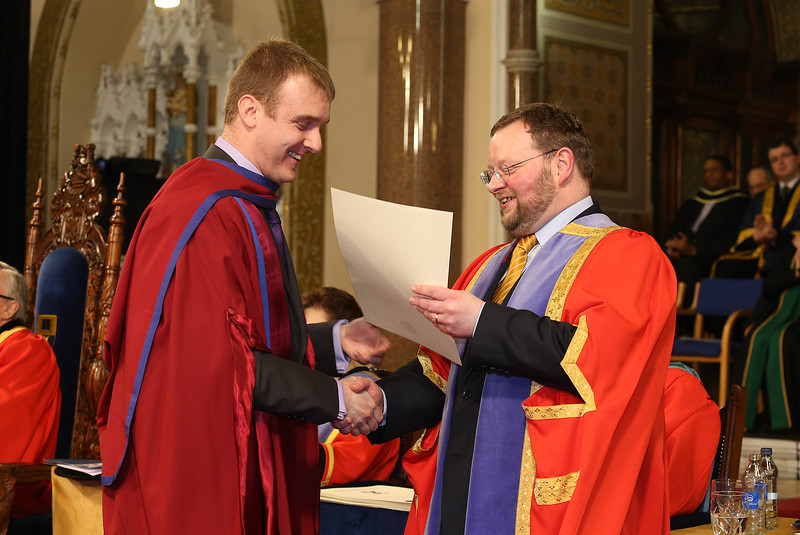 Pictured is Leigh Griffin, Waterford who was conferred a Doctor of Philosophy from Dr. Derek O'Byrne, Registrar of Waterford Institute of Technology (WIT). Picture: Patrick Browne.