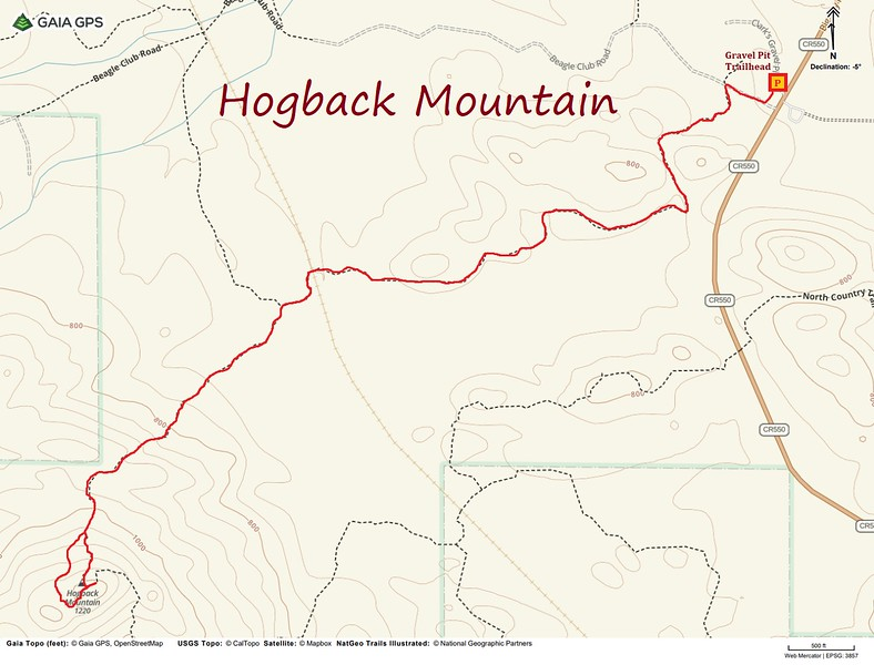 Hogback Mountain Hike Route Map
