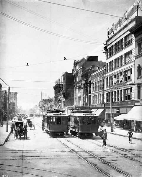 View of streetcars on Broadway looking south from Fifth Street in downtown Los Angeles, ca.1908