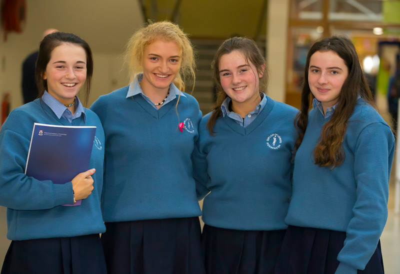 22/11/2017. Waterford Institute of Technology's (WIT) 'College Awareness Day. Pictured are Courtney Smith, Laura Brown, Aisling Walsh and Sarah Whitty of Our lady of Lourdes Secondary School, Rosbercon, New Ross. Picture: Patrick Browne  Hundreds of secondary school students from across the South East celebrated College Awareness Week by attending Waterford Institute of Technology's (WIT) 'College Awareness Day' on Wednesday 22 November 2017. The events gave secondary school students a taste of college life and helped students of all ages to become 'college ready' by raising awareness of the benefits of going to college. There was an  hourly talk/workshop on how to become college ready (including presentations on college life), an expo area, and a chance to explore the campus. Students attended workshops on sport, electronics, sport and creative as well as presentations on college life at WIT, student supports, new courses for 2018, routes of entry and clubs and societies. They also got an overview of WIT's new common and broad entry courses for 2018.     Elaine Larkin Communications & PR Executive, Waterford Institute of Technology   Phone: +353 51 845577  Mobile: 087-7105148