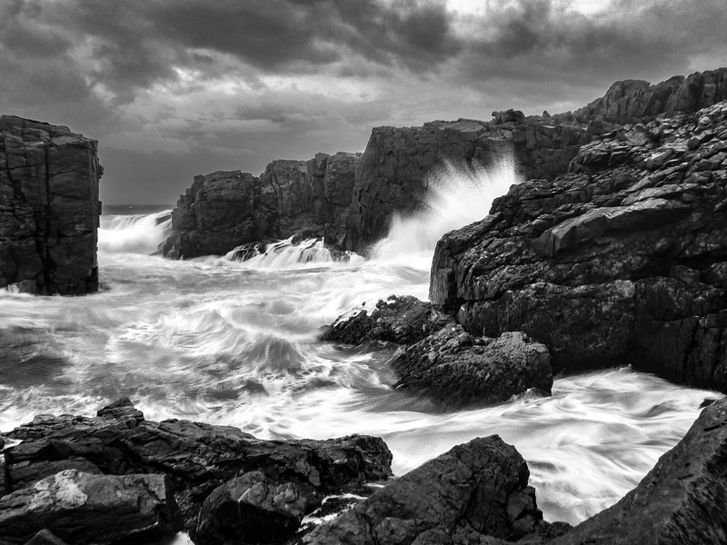 Taken with an app using a photoshop process know as stacking to merge multiple photos.  This allows not only for longer actual exposures but the ability to stack multiple short exposures. which comes in handy on windy days.  Taken during one of the worst storms in recent history in Nova Scotia a few weeks ago.