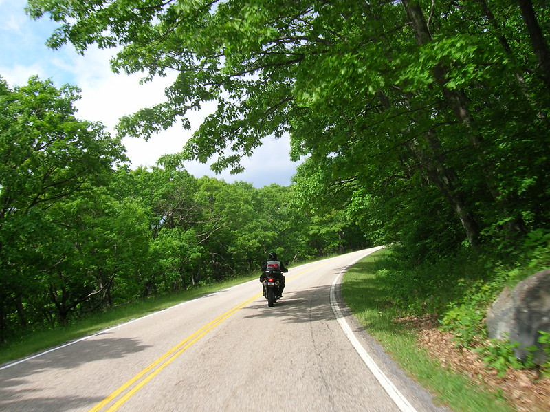 Steve carving up the twisties on Skyline Drive