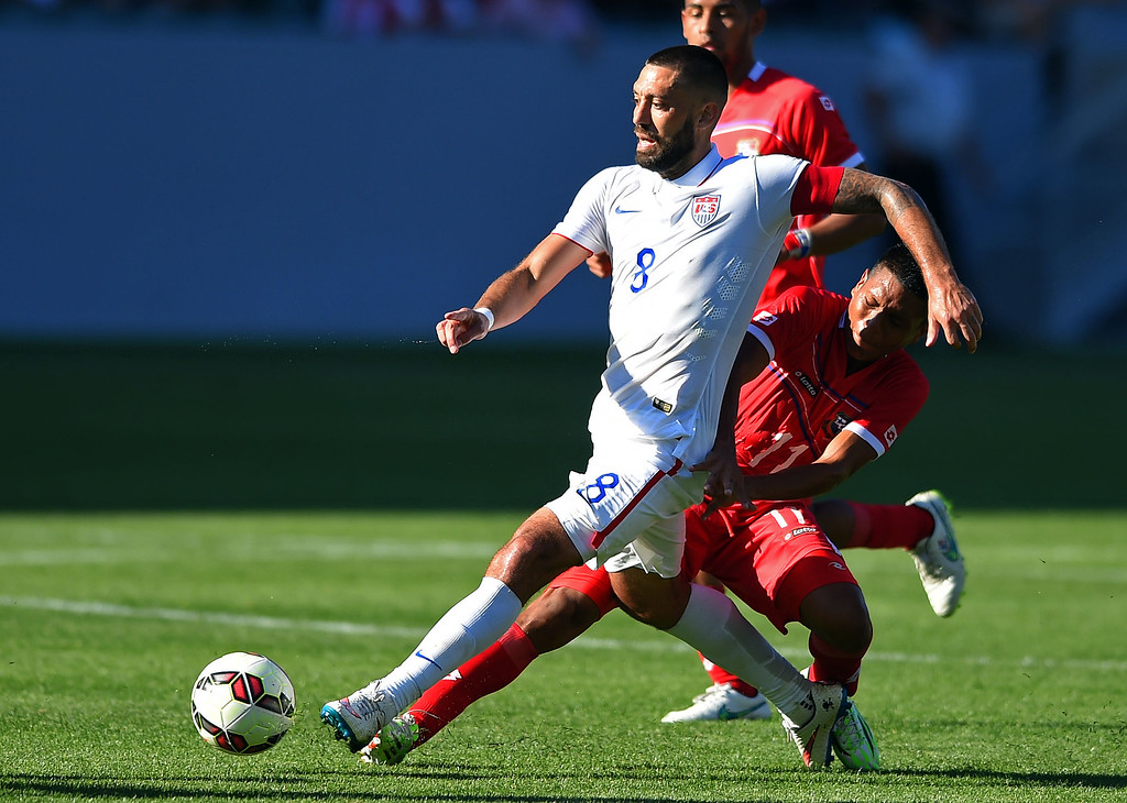 . USA�s Clint Dempsey has the ball stolen by Panama�s Hecgar Murillo at the StubHub Center in Carson, CA on Sunday, February 8, 2015. US men\'s national team beat Panama 2-0 in an international friendly soccer match. 2nd half. (Photo by Scott Varley, Daily Breeze)