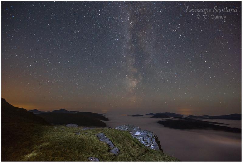 Milky Way, stars and valley fog, Beinn Dorain (2)
