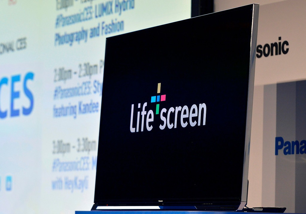 . Panasonic unveils the new Life + Screen television technology during the Panasonic news conference at the 2014 International Consumer Electronics Show Monday, Jan. 6, 2014, in Las Vegas. (AP Photo/Jack Dempsey)