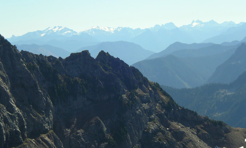 Some mountains off in the distance. I took a compass bearing on the one farthest left.