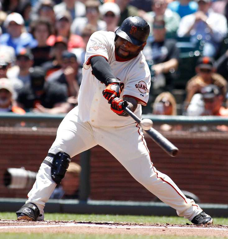 . San Francisco Giants\' Pablo Sandoval strikes out against the Colorado Rockies during the first inning of a baseball game on Sunday, May 26, 2013, in San Francisco. (AP Photo/George Nikitin)