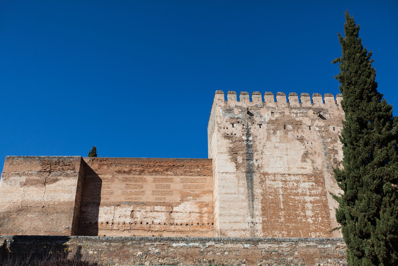 One of the walls of the Alcazaba fort/citadel at the Alhambra in Granada, Spain.