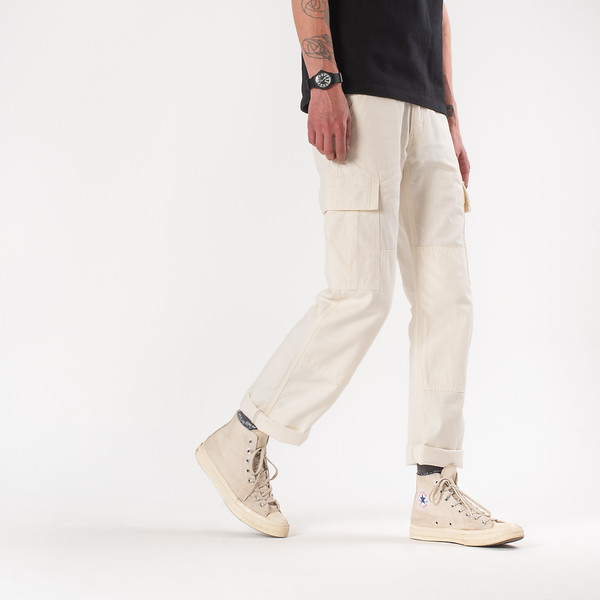 White 10.5oz Cotton Herringbone Cargo Pants-.jpg