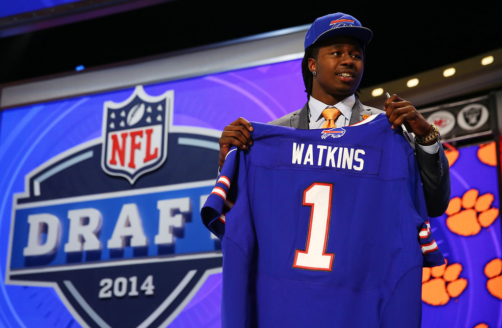 . Sammy Watkins of the Clemson Tigers poses with a jersey after he was picked #4 overall by the Buffalo Bills during the first round of the 2014 NFL Draft at Radio City Music Hall on May 8, 2014 in New York City.  (Photo by Elsa/Getty Images)