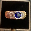 1.55ctw Old Mine Cut and Sapphire Gypsy Ring, GIA 0