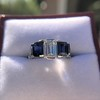 2.83ctw Vintage Emerald Diamond and Sapphire Trilogy Ring 5