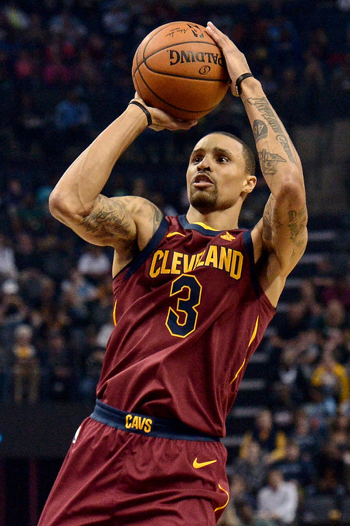 . Cleveland Cavaliers guard George Hill (3) shoots the ball in the first half of an NBA basketball game against the Memphis Grizzlies Friday, Feb. 23, 2018, in Memphis, Tenn. (AP Photo/Brandon Dill)