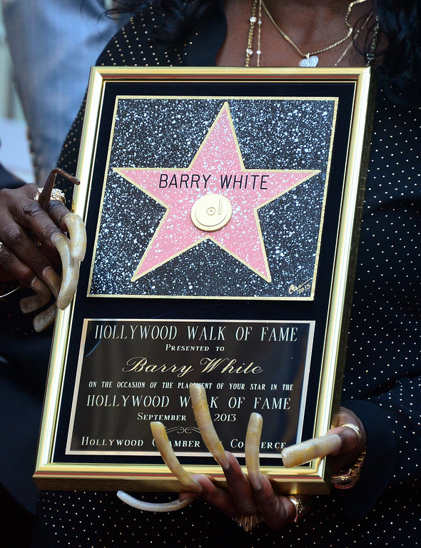 . The late Barry White\'s wife Glodean White poses following the unveiling of her husband\'s posthumous star along the Hollywood Walk of Fame on September 12, 2013. White, who died in 2003 and would have celebrated his birthday September 12, is most well known for his 1970\'s instrumental \'Love\'s Theme\' and is the recipient of the 2,506th Star in the category of recording.         (FREDERIC J. BROWN/AFP/Getty Images)