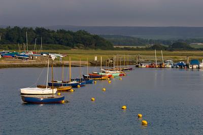 Sailing boats on Yar River, Yarmouth, Isle of Wight, United Kingdom