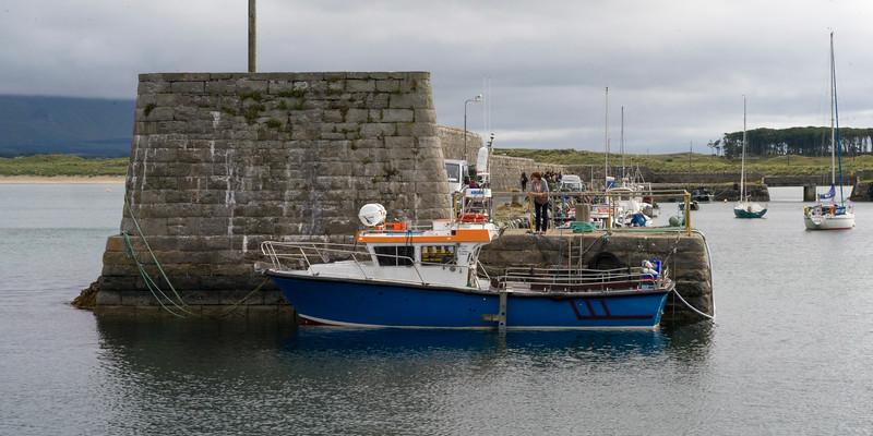 Boats moored at a dock, Mullaghmore Peninsula, Grange, County Sligo, Ireland