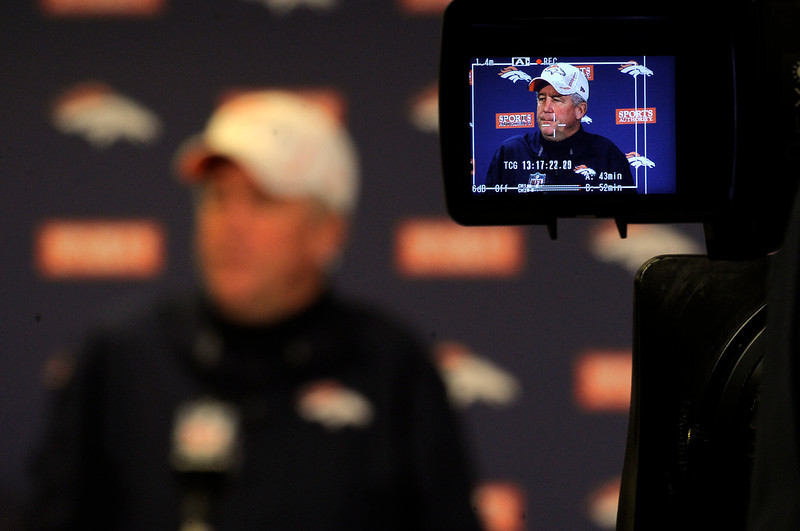 . Denver Broncos head coach John Fox addresses the media after practice under the bubble Wednesday, December 19, 2012 at Dove Valley as they prepare for the Cleveland Browns.  John Leyba, The Denver Post