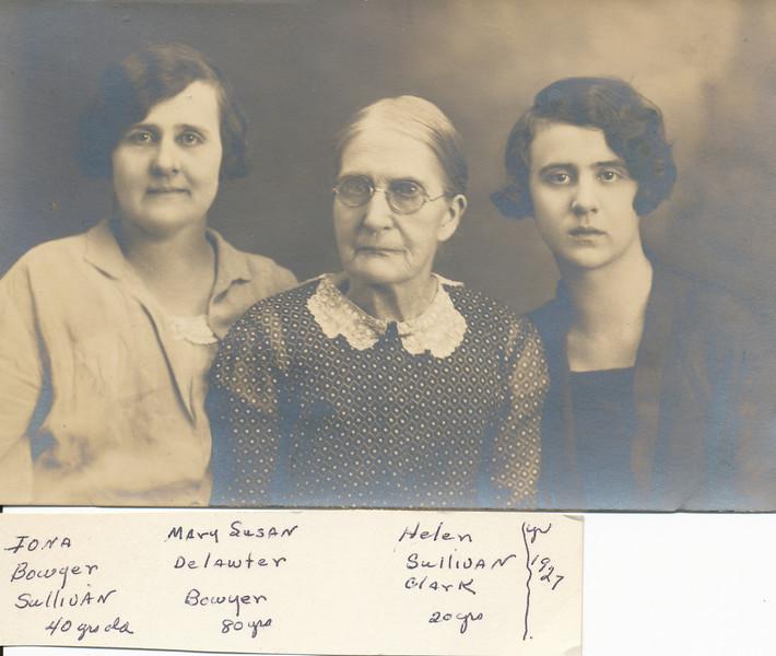 Iona Bowyer Sullivan, Mary Susan Delawter Bowyer, Helen Sullivan Clark.jpg