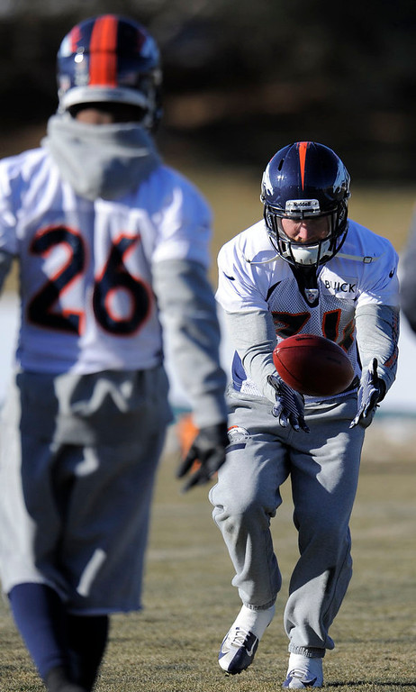 . Denver Broncos cornerback Omar Bolden (31) catches a pass during  practice Thursday, January 3, 2013 at Dove Valley.  John Leyba, The Denver Post