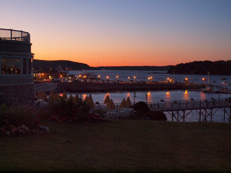 A view from our room in Bar Harbor at Sunset