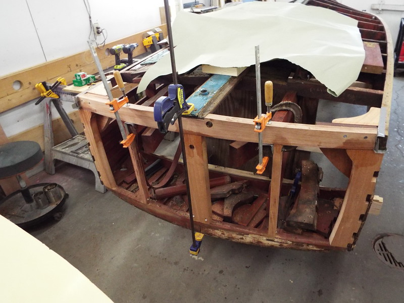 New bottom frame fit and glued in place along with the other new frames.