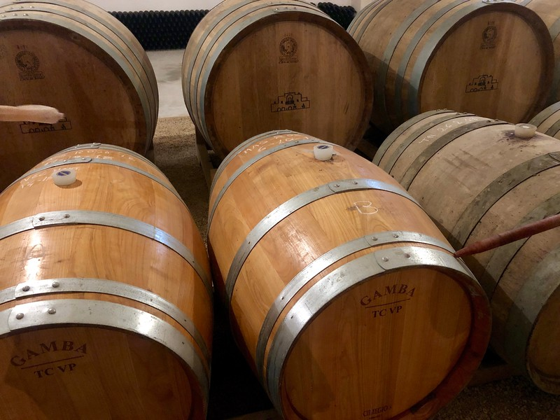 series of oak barrels