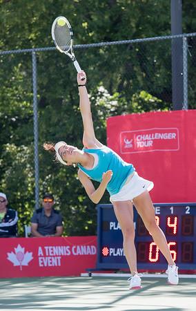 DAVID LIPNOWSKI / WINNIPEG FREE PRESS  Francesca Di Lorenzo (USA) battles Erin Routliffe (Canada) for the women's singles title at the National Bank Challenger Tennis Tournament at Winnipeg Lawn Tennis Club Sunday July 17, 2016. Francesca Di Lorenzo won the final.