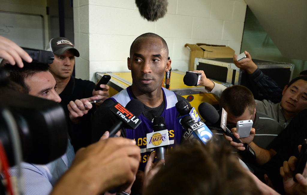 . Lakers\' Kobe Bryant participates in team practice at the Toyota Sports Center Tuesday, November 19, 2013, in El Segundo, CA.  After practice, Bryant discusses with the media his return from injury. Photo by Steve McCrank/DailyBreeze