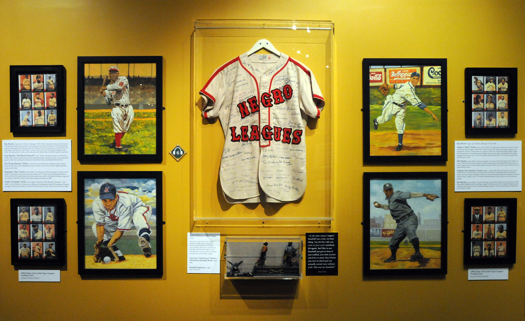 ". A section dedicated to the ""Negro Leagues\"" is included in the \""Baseball!\"" exhibit.The Exhibition opens April 4, 2014 at the Ronald Reagan Presidential Library and Museum.  Running through September 4, 2014, Baseball is a 12,000 square foot exhibition featuring over 700 artifacts, including some of the rarest, historic and iconic baseball memorabilia.  (Photo by Dean Musgrove/Staff Photographer)"