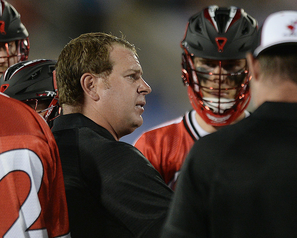 . Canada assistant coach Matt Brown talked to the players during time out late in the fourth quarter. The United States defeated Canada 10-7 in the opening game of the FIL World Lacrosse Championships Thursday night, July 10, 2014.   Photo by Karl Gehring/The Denver Post