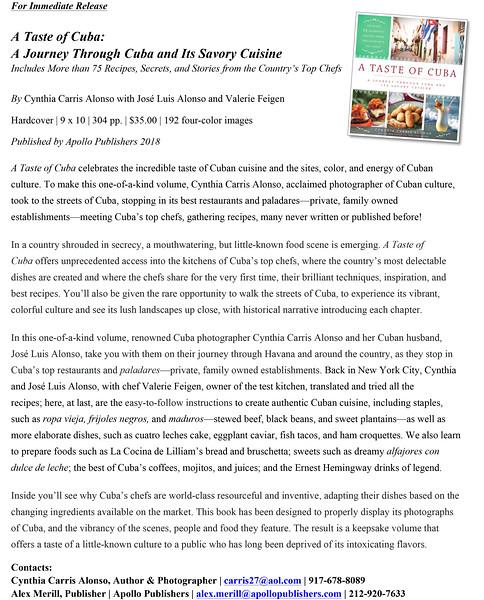 z-A Taste of Cuba_press release_May 2018
